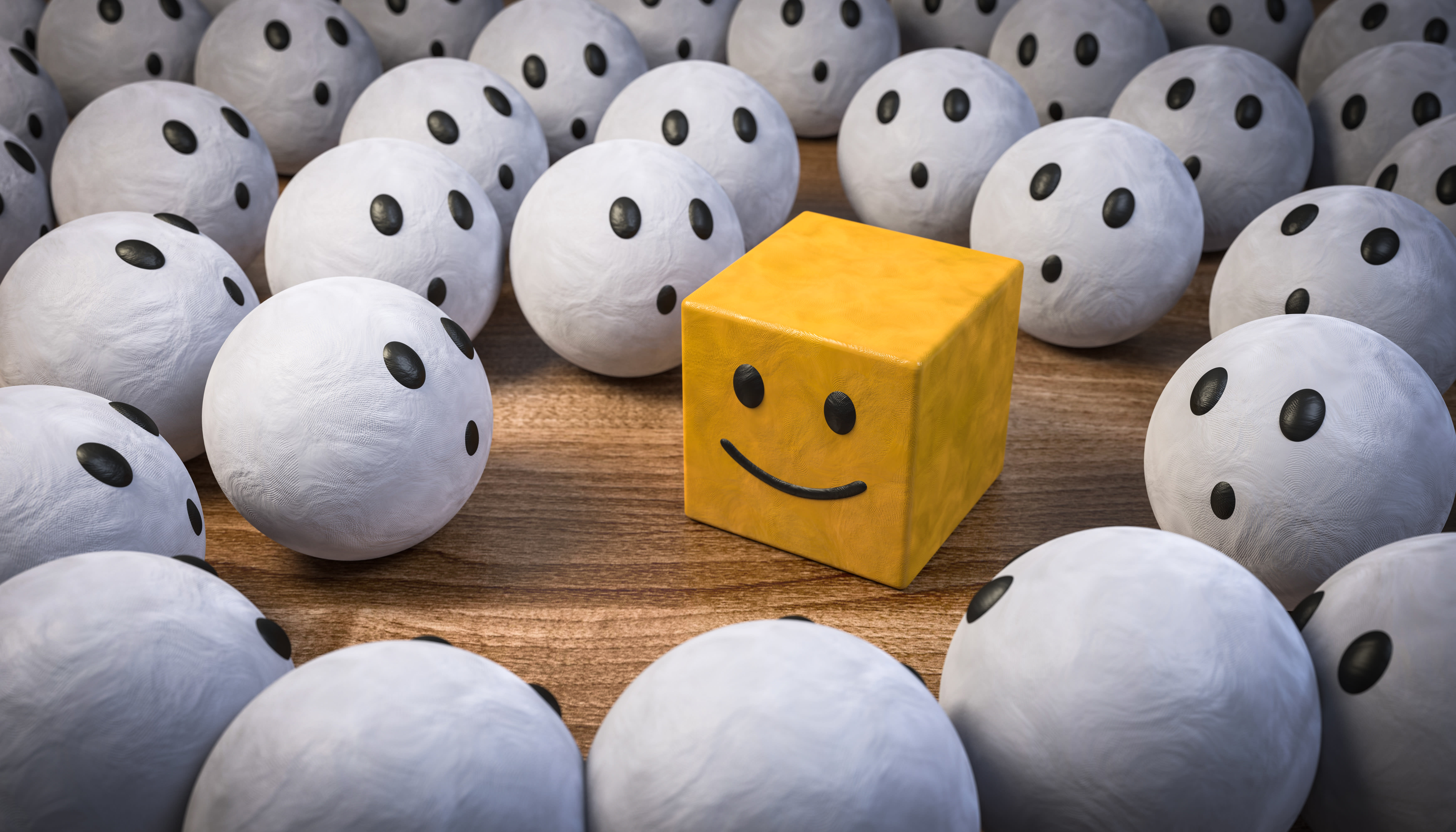 3D Illustration of a bunch of white balls with wow faces looking at a yellow square with a smiley face