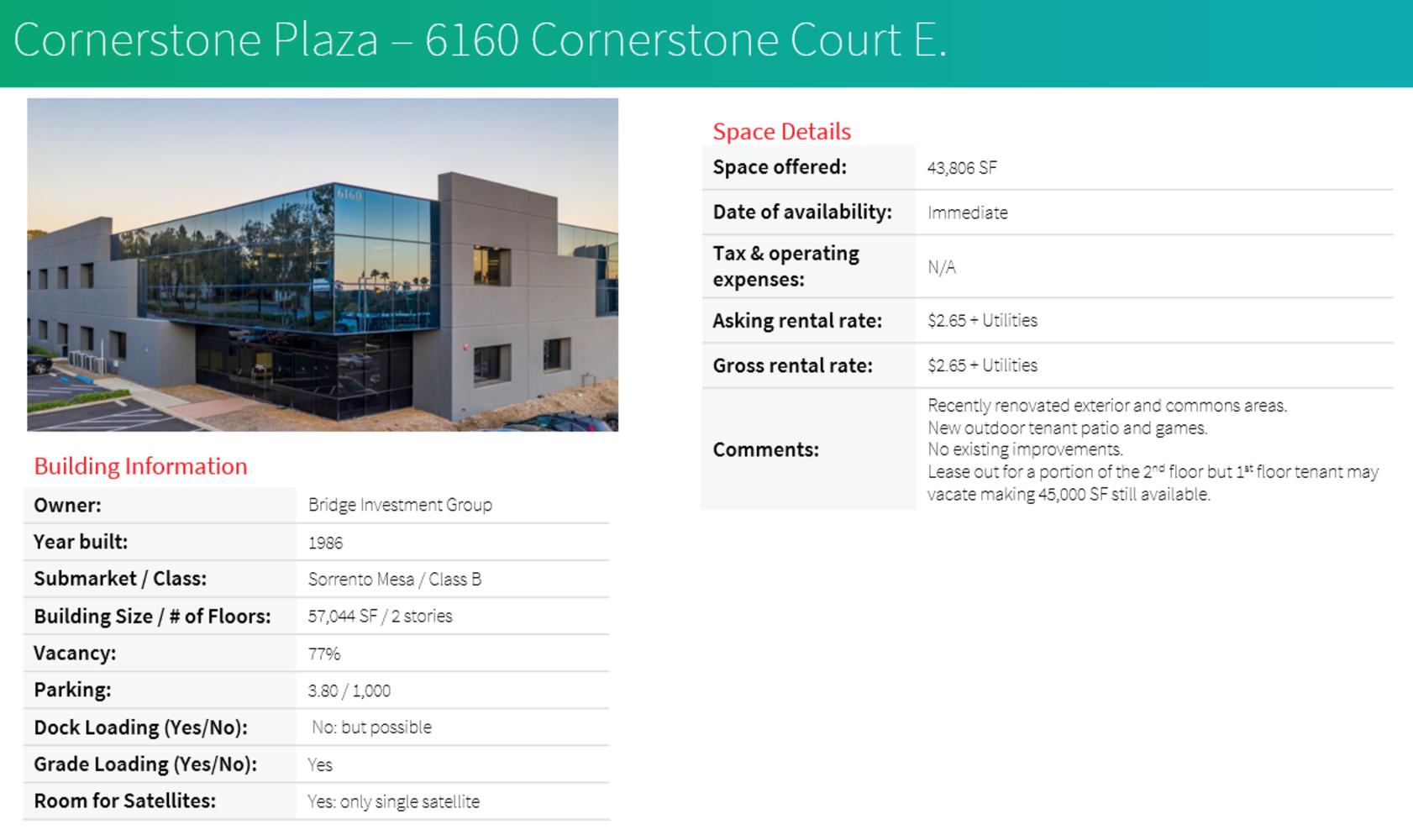 Office San diego, 92121 - 6160 Cornerstone Ct E
