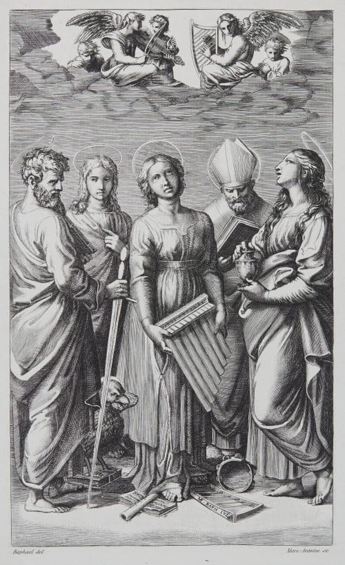 Ste Cécile d'apres Raphael Baldus, Edouard  (French, 1813-1889)