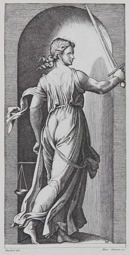 La Justice d'apres Raphael Baldus, Edouard  (French, 1813-1889)