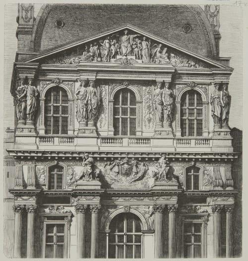 Pavilion central nord de la cour Napoléon III Baldus, Edouard  (French, 1813-1889)