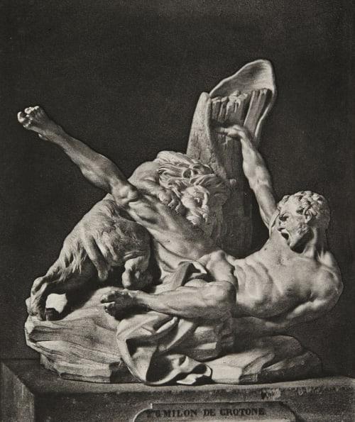 """""""Milon de Crotone"""", sculpture by Etienne Maurice Falconet Baldus, Edouard  (French)"""