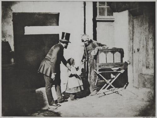 Henri Le Secq et un enfant donnant des aumônes à un broyeur d'organes Negre, Charles  (French, 1820-1880)