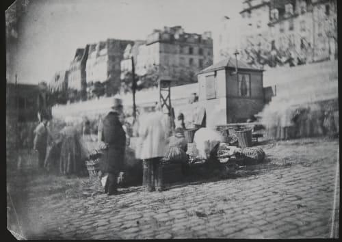 Scène de Marché au Port de l'Hôtel de Ville, Pariss Negre, Charles  (French, 1820-1880)