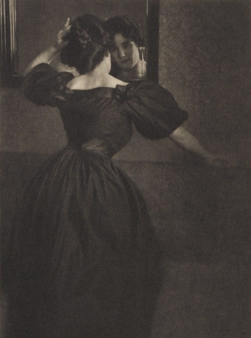 Girl with Mirror Kuehn, Heinrich  (Austrian-German, 1866-1944)