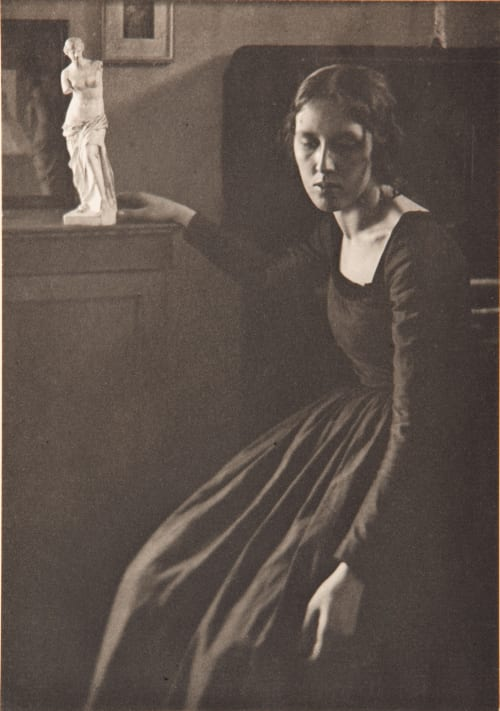 Lady in Black with Statuette White, Clarence H.  (American, 1871-1925)