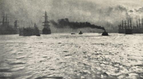 Harbour of Hamburg Kuehn, Heinrich  (Austrian-German, 1866-1944)