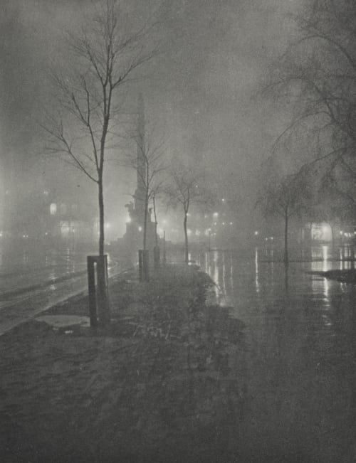 A Wet Night, Columbus Circle, New York Fraser, William A.  (American, 1840-1925)