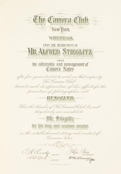 Resignation Certificate Stieglitz, Alfred  (American, 1864-1946)