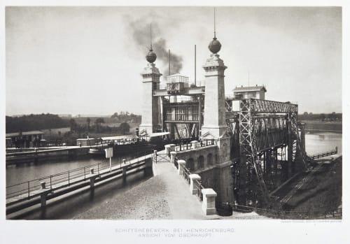 Schiffshebewerk bei henrichenburg. Ansicht vom oberhaupt. Rückwardt, Hermann  (German, 1845-1919)