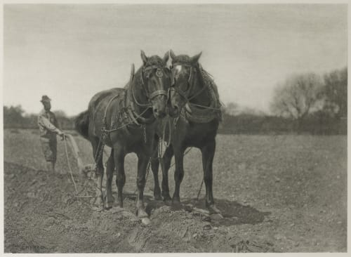 At Plough – The End of the Furrow Emerson, Peter Henry  (British, 1856-1936)