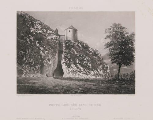 France. Porte creusée dans le roc à Besançon Lerebours, Noël Paymal  (French, 1807-1873)