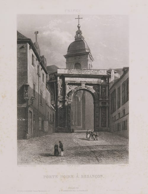 France. Porte Noire à Besançon Lerebours, Noël Paymal  (French, 1807-1873)