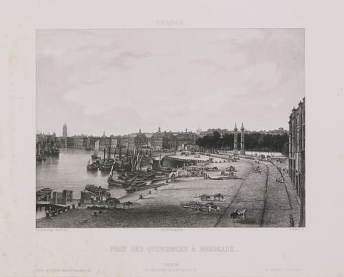 France. Port des Quinconces à Bordeaux Lerebours, Noël Paymal  (French, 1807-1873)
