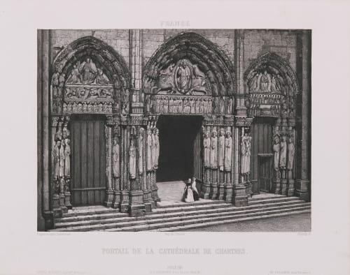 France. Portail de la cathédrale de Chartres Lerebours, Noël Paymal  (French, 1807-1873)