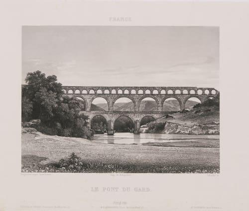 France. Le pont du Gard Lerebours, Noël Paymal  (French, 1807-1873)