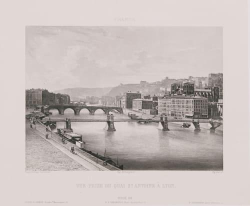 France. Vue prise du quai St Antoine à Lyon Lerebours, Noël Paymal  (French, 1807-1873)