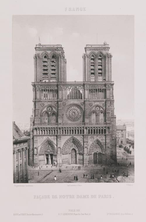 France. Façade de Notre-Dame de Paris Lerebours, Noël Paymal  (French, 1807-1873)