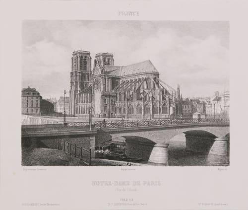 France. Notre-Dame de Paris (Vue de l'abside) Lerebours, Noël Paymal  (French, 1807-1873)