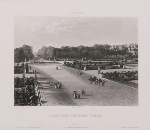 France. Jardin des Tuileries à Paris Lerebours, Noël Paymal  (French, 1807-1873)
