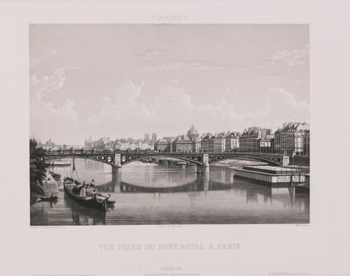 Paris. Vue prise du Pont Royal à Paris Lerebours, Noël Paymal  (French, 1807-1873)