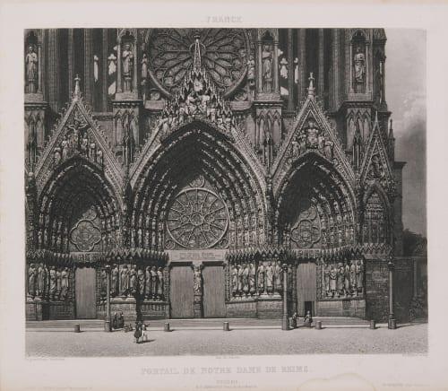 France. Portail de Notre-Dame de Reims Lerebours, Noël Paymal  (French, 1807-1873)