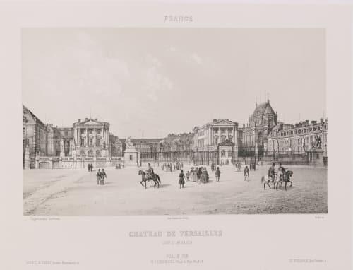 France. Château de Versailles. Cour d'honneur Lerebours, Noël Paymal  (French, 1807-1873)