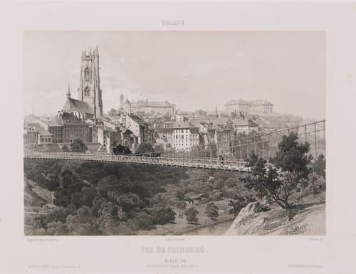 Suisse. Vue de Fribourg Lerebours, Noël Paymal  (French, 1807-1873)