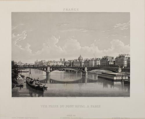 Vue Prise du Pont Royal a Paris Lerebours, Noël Paymal  (French, 1807-1873)