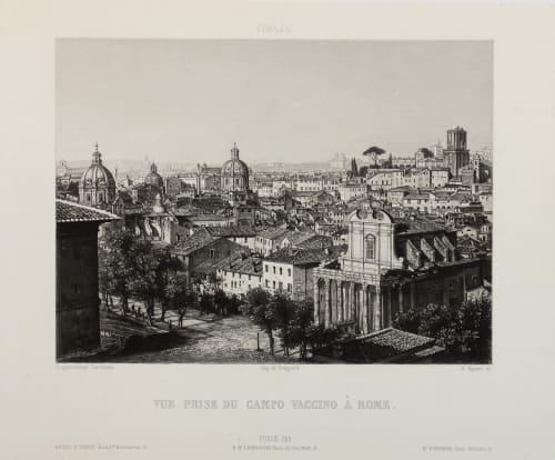 Vue Prise du Campo Vaccino À Rome Lerebours, Noël Paymal  (French, 1807-1873)