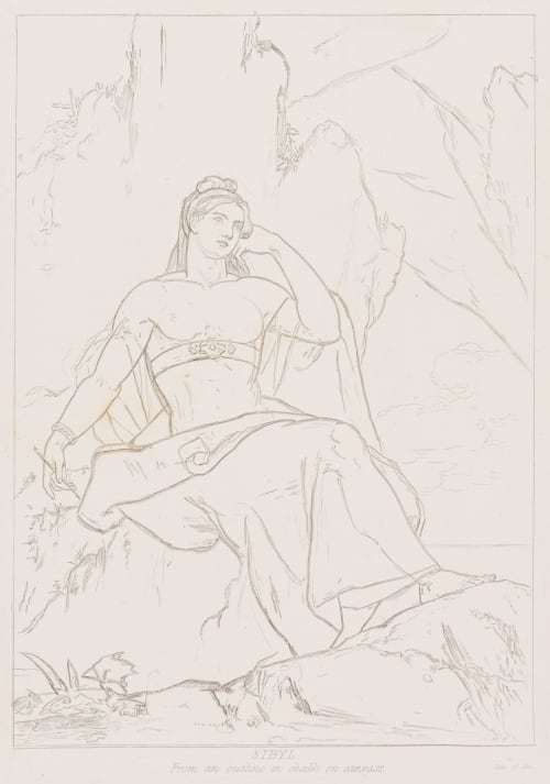 Sibyl – from an outline in chalk on canvas Allston, Washington  (American, 1779-1843)