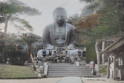 The Daibutsu or Gigantic Bronze Statue of Buddha at Kamakura, a Former Feudal Capital Kazumasa, Ogawa   (Japanese, 1860-1929)
