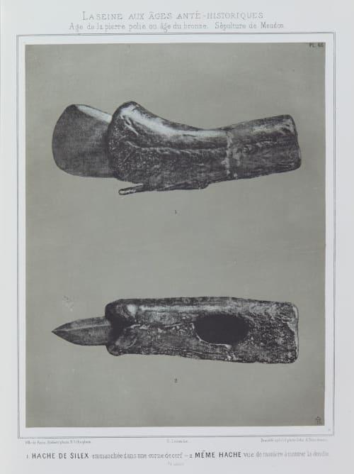 1. Hache de silex, 2. même hache Bilordeaux, Adolphe,   (French, 1807-1872)