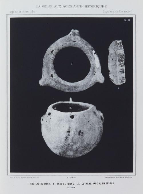 1. Couteau de silex, 2. Vase de terre, 3. Le même vase vu en dessus Bilordeaux, Adolphe,   (French, 1807-1872)