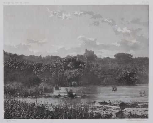 PL. 61 Source du Jourdain: Au Pied de Tell-El-Kady Vignes, Louis  (French, 1831-1896)