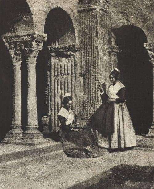 Deux Arlésiennes dnas le cloître de Saint-Trophime d'Arles Negre, Charles  (French, 1820-1880)