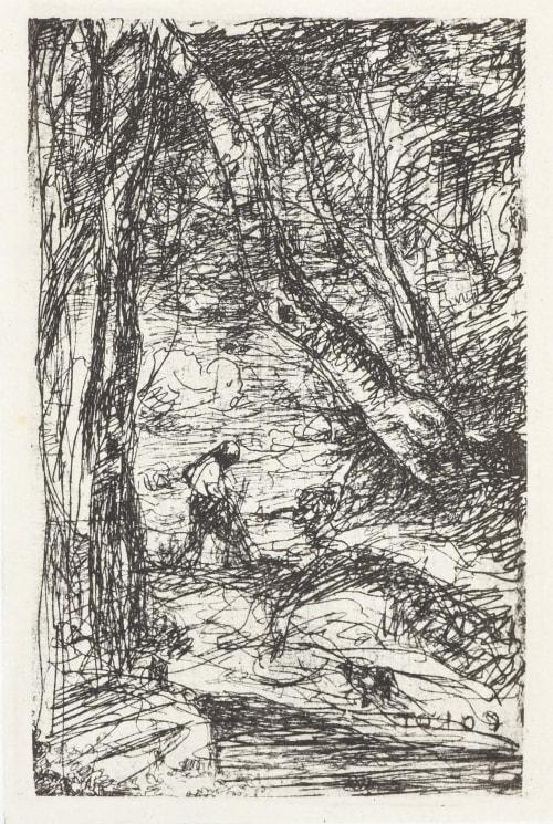 Le Bücheron. Cliché-verre exécuté pat Corot Negre, Charles  (French, 1820-1880)