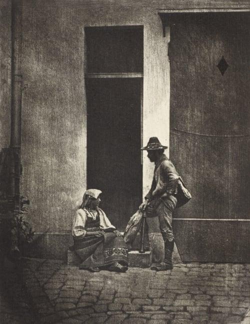 Pifferaro debout et paysanne italienne assise, dans la cour du 21 Quai Bourbon Negre, Charles  (French, 1820-1880)
