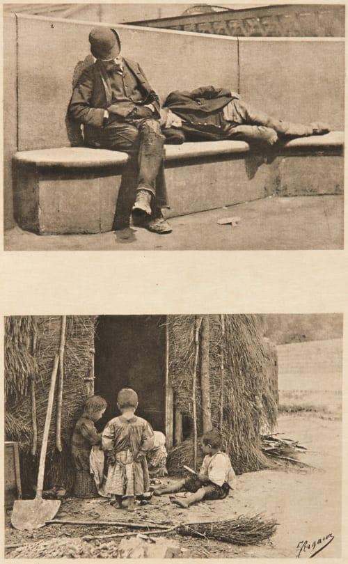 Diptych: Sans Travail & Les Enfants du Briquetier (alt) Rigaux, Jules  (Belgian, b.active 1890s)Selb, Victor  (Belgian, 1838-1914)