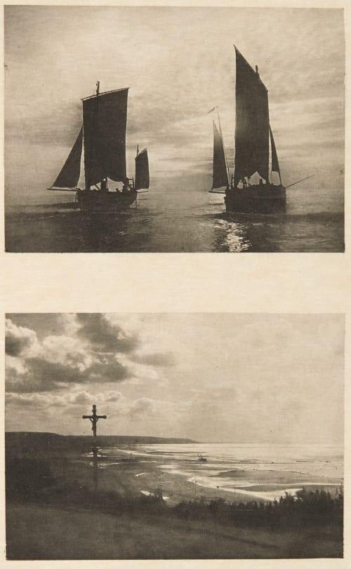 Diptych: Au Soleil couchant & Coucher de Soleil sur la Plage de Trouville (alt) Da Cunha, Arthur  (French, b.active 1890s)Guillaume, Georges  (French, b.active 1890s)