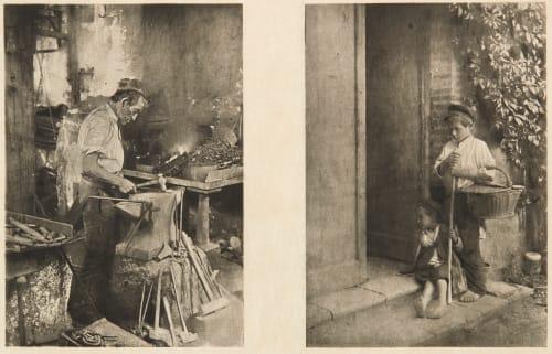 Diptych: Le Forgeron & Les Petits Mendiants Basto, Joachim  (Portuguese, b.active 1890s)Soulan, J.  (Portuguese, b.active 1890s)