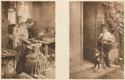 Diptych: Le Forgeron & Les Petits Mendiants (alt) Basto, Joachim  (Portuguese, b.active 1890s)Soulan, J.  (Portuguese, b.active 1890s)