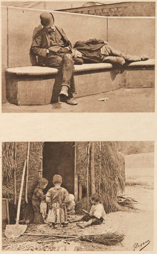Diptych: Sans Travail & Les Enfants du Briquetier Rigaux, Jules  (Belgian, b.active 1890s)Selb, Victor  (Belgian, 1838-1914)