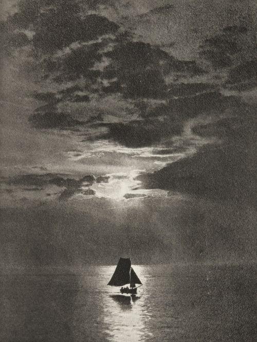 Clair de lune sur la mer Rutot, A.  (Belgian, b.active 1890s)
