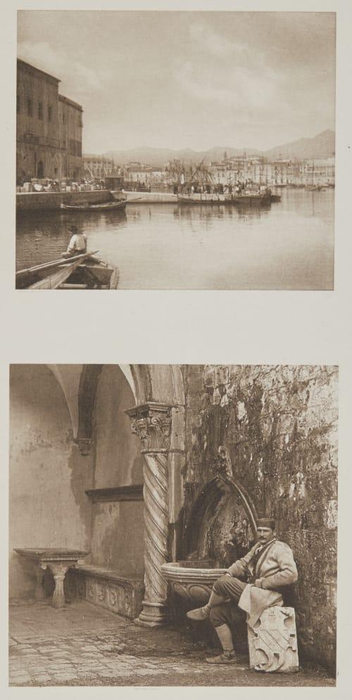Im Hafen Von Palermo /  Im Hofe Der Villa >Giorgio< In Lapad Bei Ragusa. Rothschild, Nathaniel Mayer von  (Vienna, 1836-1905)