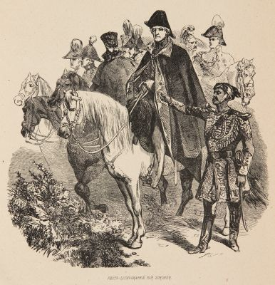 Marshal with his soldiers, woodcut after Gavarni