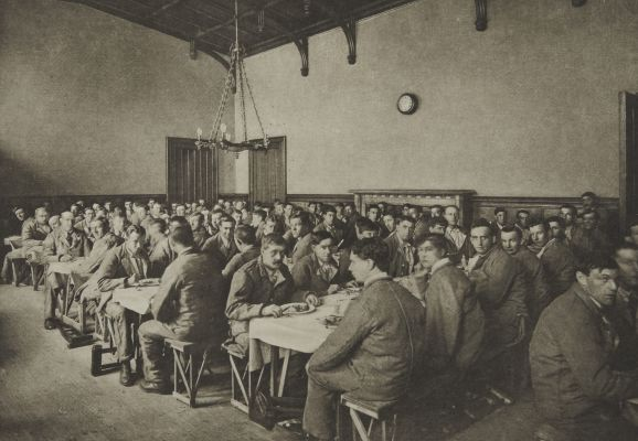 Dining Room with Men at Meal