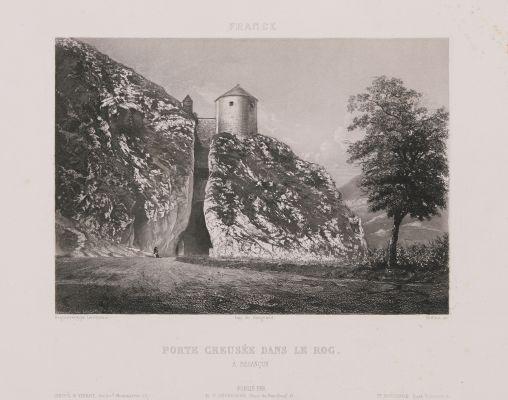 France. Porte creusée dans le roc à Besançon
