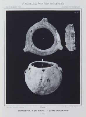 1. Couteau de silex, 2. Vase de terre, 3. Le même vase vu en dessus