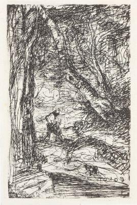 Le Bücheron. Cliché-verre exécuté pat Corot